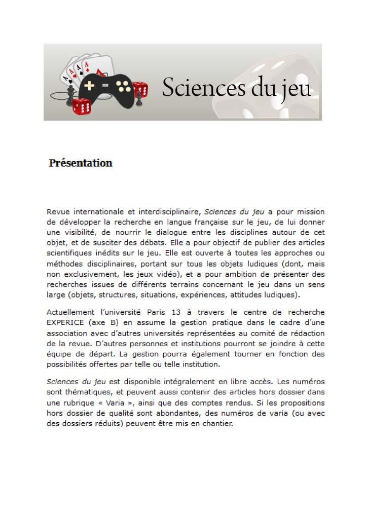 Présentation revue Sciences du jeu
